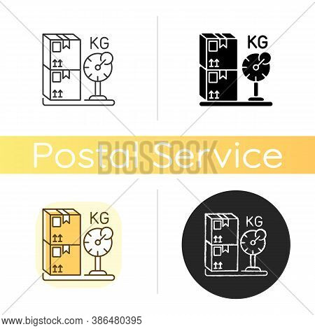 Cargo Weight Chalk White Icon. Linear Black And Rgb Color Styles. Postal Transportation Service. Mea