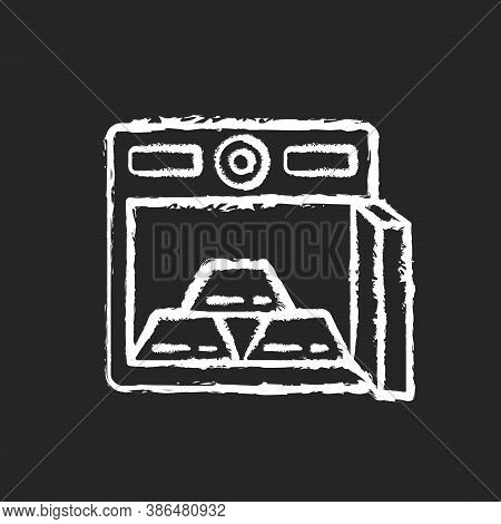Gold Bars In Safe Chalk White Icon On Black Background. Precious Metals On Deposit In Bank. Golden B