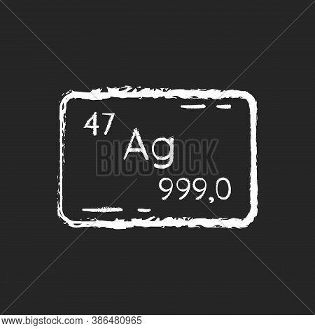 Silver Chalk White Icon On Black Background. Precious Metal. Bullion For Deposit. Heavy Industrial P