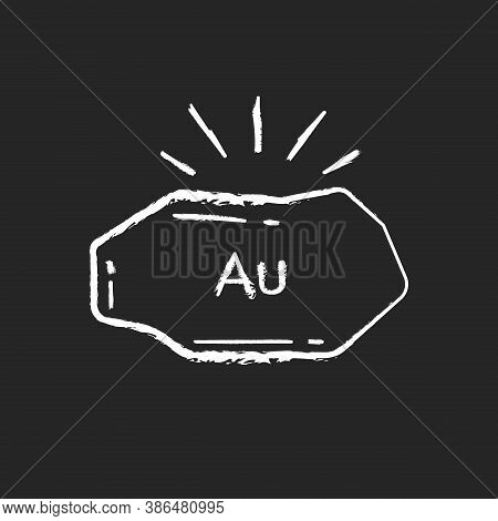 Golden Nugget Chalk White Icon On Black Background. Mineral Commodity For Trading. Precious Metal. M