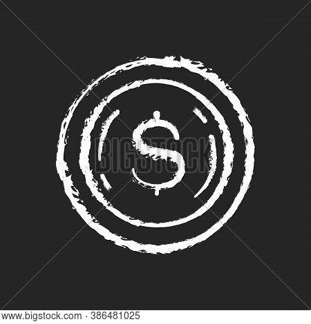 Commemorative Coin Chalk White Icon On Black Background. Precious Metal Investment. Dollar Sign On P