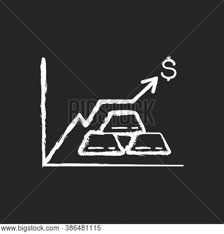 Precious Metals Price Chalk White Icon On Black Background. Money Investment. Bullion Trade. Growth