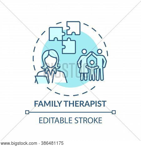 Family Therapist Concept Icon. Medical Speciality Idea Thin Line Illustration. Mental Health Profess