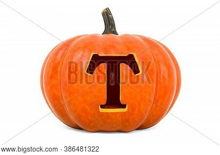 Letter T Halloween Font. Pumpkin With Carved Letter, 3d Rendering Isolated On White Background