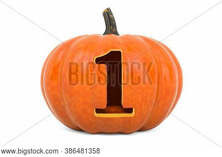 Number 1 Halloween Font. Pumpkin With Carved 1, 3d Rendering Isolated On White Background