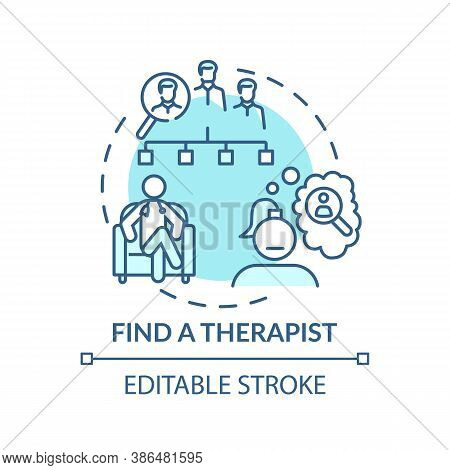 Find Therapist Concept Icon. Search For Psychologist Idea Thin Line Illustration. Mental And Emotion