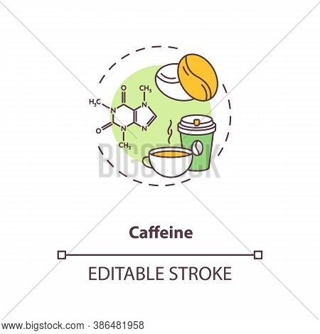 Caffeine Concept Icon. High Caffeine Energy Drinks Idea Thin Line Illustration. Coffee Cup. Natural