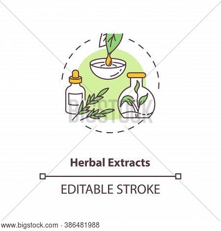 Herbal Extracts Concept Icon. Botanical Ingredients In Energy Drinks Idea Thin Line Illustration. Po