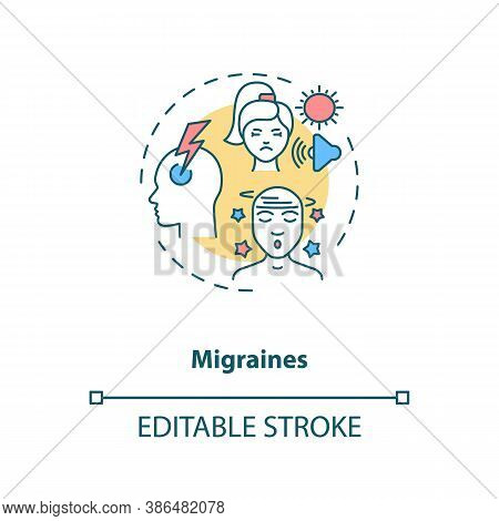 Migraines Concept Icon. Headache Trigger Idea Thin Line Illustration. Throbbing Pain, Pulsing Sensat