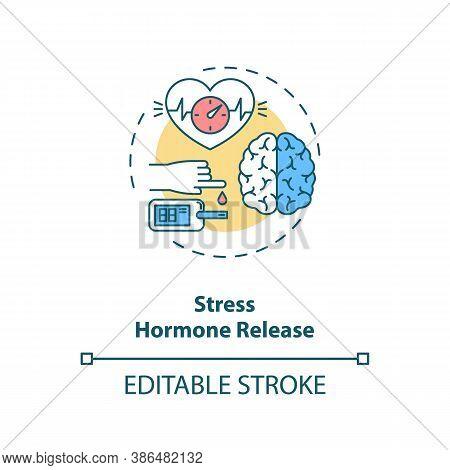 Stress Hormone Release Concept Icon. Heart Rate Increase Idea Thin Line Illustration. Adrenaline. Bl