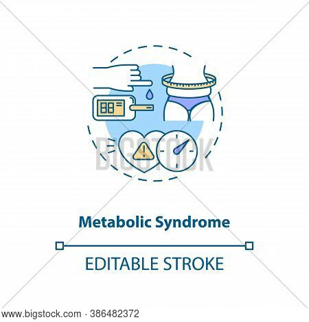 Metabolic Syndrome Concept Icon. Heart Disease Stroke Risk Idea Thin Line Illustration. Type 2 Diabe