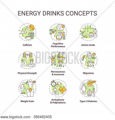 Energy Drinks Concept Icons Set. Health Effects Idea Thin Line Rgb Color Illustrations. Caffeine. Co