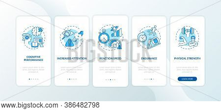 Energy Beverages Harmful Effects Onboarding Mobile App Page Screen With Concepts. Endurance, Cogniti
