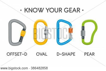 Climbing Carabiners Set. Oval, Offset-d, D-shaped And Pear-shaped Types. Vector Carabine Flat Illust