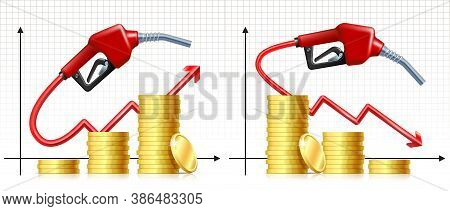 Fuel Handle Pump Nozzle With Hose Like Price Rises And Falling Graph And Stack Of Gold Coins.