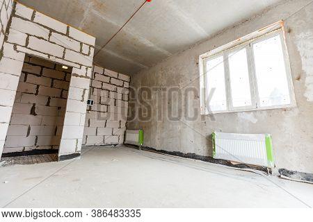 Home Renovation, Empty Room Before Refurbishment Or Restoration
