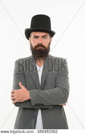 Master Of Cunning Tricks. Street Performance. Man Bearded Guy Magician. Magic Trick Performance Conc