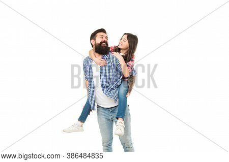 Family Portrait. Happy Family Photo Shoot In Studio. Family Of Father And Daughter Have Fun. Bearded