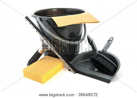 Household objects with clothespegs cloth and