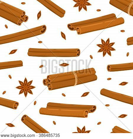Cinnamon Sticks And Star Anise Seamless Pattern Isolated On White.