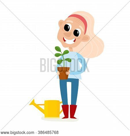 Cartoon Woman Farmer With Plant In Pot And Watering Can Isolated On White.