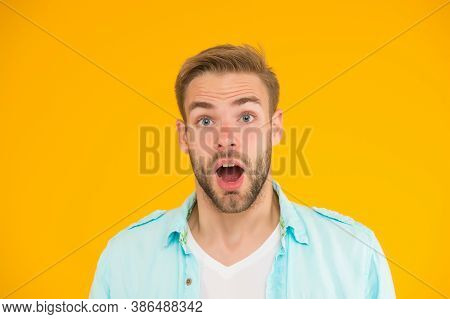 Surprised Guy With Unshaven Face. Expressing Human Emotions. Bearded Sexy Man Wearing Casual Shirt.