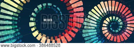 Big Data Visualization. Abstract Background With Spiral Array And Binary Code. Connection Structure.