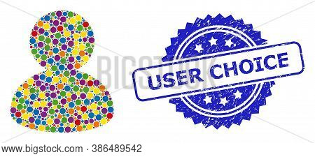 Colored Mosaic User, And User Choice Corroded Rosette Stamp. Blue Stamp Includes User Choice Caption