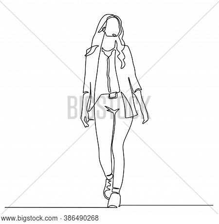 Continuous Line Drawing Of Walking Businessman In Suit. Business Concept Illustration. Continuous Li