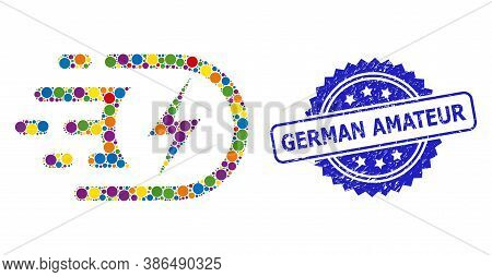 Colorful Collage Electric Voltage, And German Amateur Unclean Rosette Stamp Seal. Blue Stamp Include