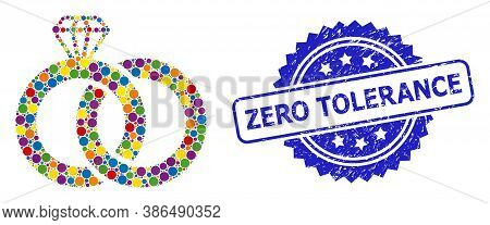 Bright Colored Mosaic Diamond Wedding Rings, And Zero Tolerance Textured Rosette Stamp Seal. Blue St