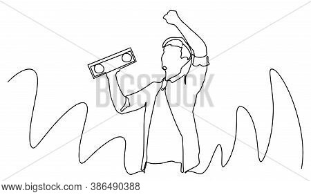 Man Smiling, Dancing With Wireless Portable Speaker In Studio On White Background. Music, Dance Conc