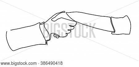 Hand Shaking Hands Continuous Line Vector Drawing. Business Agreements Vector Concept. Two Businessm