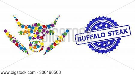 Colored Mosaic Cow Butchery, And Buffalo Steak Grunge Rosette Stamp Seal. Blue Stamp Seal Includes B