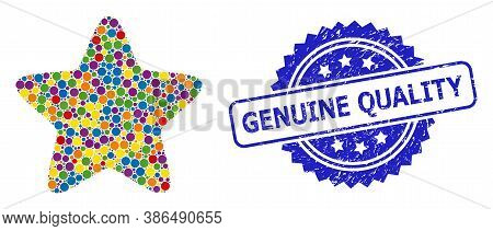 Bright Colored Mosaic Red Star, And Genuine Quality Scratched Rosette Stamp. Blue Stamp Seal Include