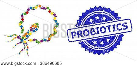 Colorful Collage Virus Penetrating Cell, And Probiotics Corroded Rosette Seal. Blue Stamp Seal Inclu