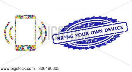 Multicolored Collage Cellphone Vibration, And Bring Your Own Device Grunge Rosette Stamp Seal. Blue