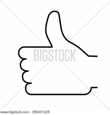 Like Icon. Thumb Up. Outline Hands From Line. Flat Social Badge. A Sign Of Admiration. Vector Illust