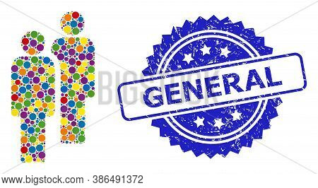 Vibrant Collage Men, And General Rubber Rosette Seal Print. Blue Seal Includes General Text Inside R