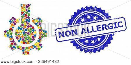 Colored Mosaic Chemical Industry, And Non Allergic Rubber Rosette Stamp Seal. Blue Seal Has Non Alle