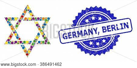 Bright Colored Mosaic David Star, And Germany, Berlin Unclean Rosette Stamp Seal. Blue Stamp Seal Co