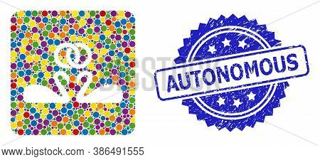 Bright Colored Mosaic Wedding Swans, And Autonomous Corroded Rosette Stamp Seal. Blue Stamp Seal Con