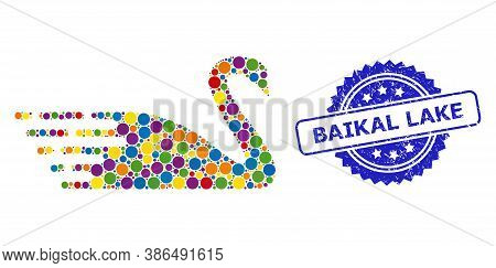 Multicolored Collage Swan, And Baikal Lake Grunge Rosette Stamp Seal. Blue Stamp Seal Has Baikal Lak