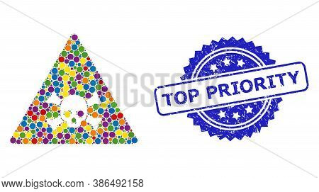 Colorful Collage Skull Toxic Warning, And Top Priority Grunge Rosette Seal Imitation. Blue Stamp Sea
