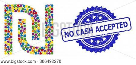 Colored Mosaic Shekel, And No Cash Accepted Scratched Rosette Stamp. Blue Stamp Seal Has No Cash Acc