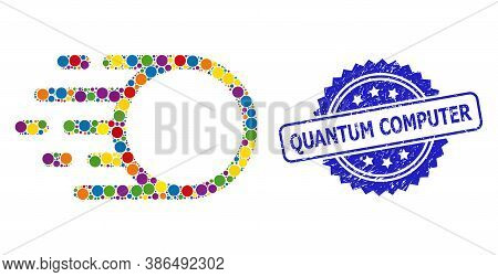 Multicolored Mosaic Light Motion, And Quantum Computer Unclean Rosette Stamp Seal. Blue Seal Contain