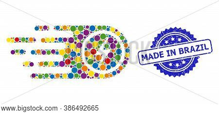 Colorful Mosaic Electrical Power, And Made In Brazil Scratched Rosette Seal. Blue Stamp Seal Include