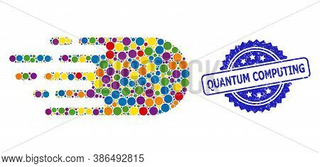 Colored Mosaic Electron Flight, And Quantum Computing Corroded Rosette Stamp Seal. Blue Seal Has Qua