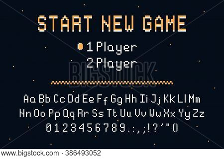Pixel Art Font. Retro Alphabet For 8bit Games Or Retro-looking Project. Vintage Pixel Typefacedesign