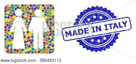 Colorful Collage Married Groom And Bribe, And Made In Italy Scratched Rosette Seal Print. Blue Stamp